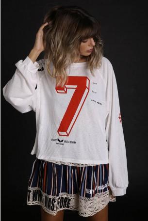 חולצה לבנה רחבה שרוול ארוך SEVEN