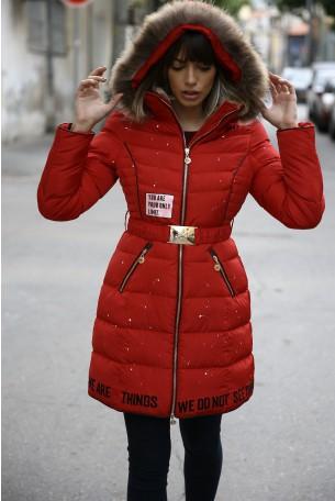 מעיל פוך אדום ארוך  YOUR