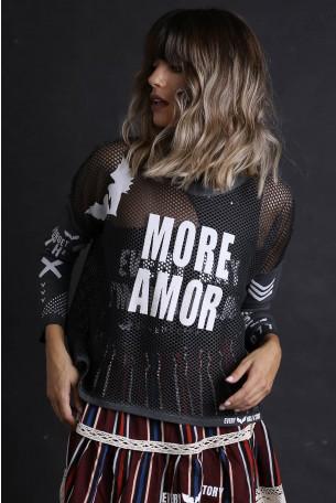 חולצת רשת שחורה שרוול ארוך  MORE AMOR