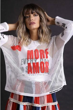 חולצת רשת לבנה שרוול ארוך MORE AMOR