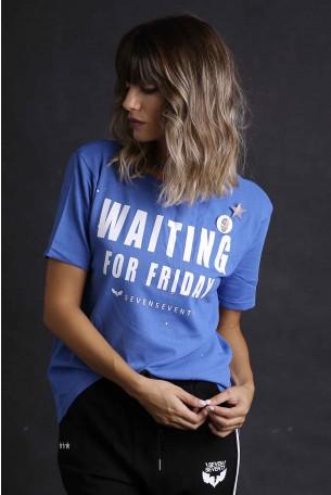 חולצת סריג כחולה קצרה WAITING