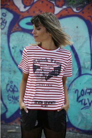 חולצת פסים אדום לבן LIVE FREE