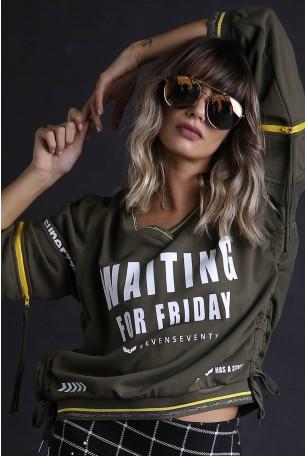 חולצת פוטר זית בעיצוב ייחודי WAITING
