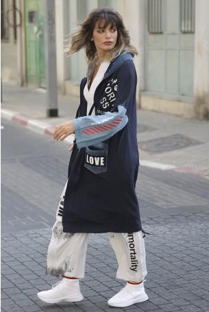 ג'קט ג'ינס משולב פוטר LOVE