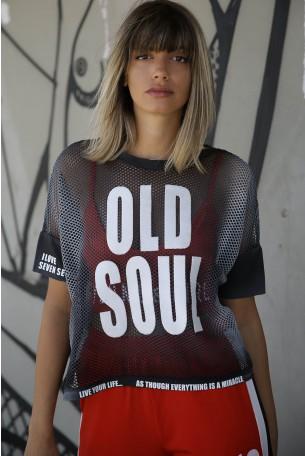 חולצת רשת בעיצוב ייחודי OLD SOUL