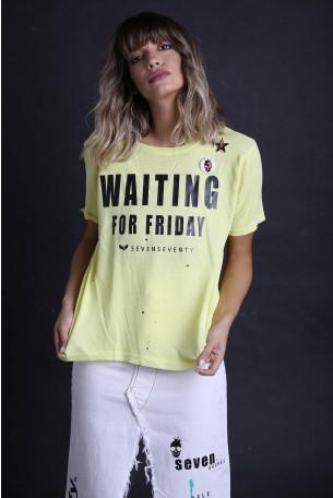 חולצת סריג צהובה קצרה WAITING