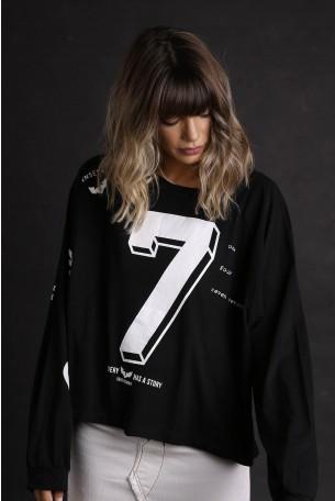 חולצה שחורה רחבה שרוול ארוך SEVEN