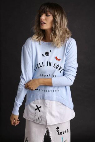 חולצת סריג משולבת תכלת ולבן IN LOVE