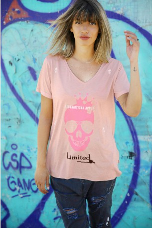 חולצת טי ורודה PINK