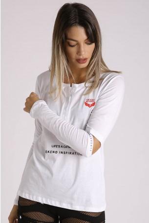 חולצה לבנה שרוול ארוך CATWALK