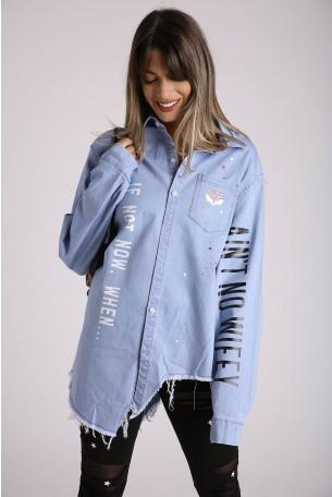 חולצת ג'ינס כחולה אסימטרית WIFEY