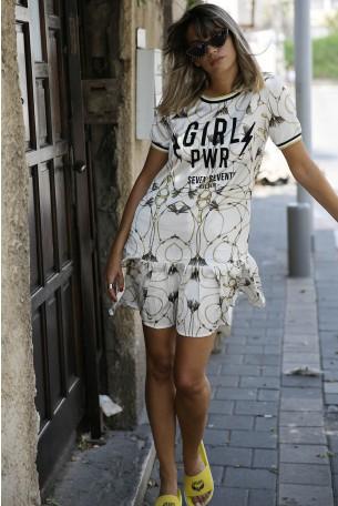 שמלה מיני פרחונית זהובה סאטן GIRL PWR