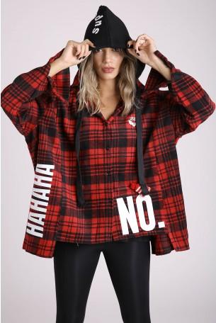 חולצת קפוצ'ון משובצת אדום שחור NO