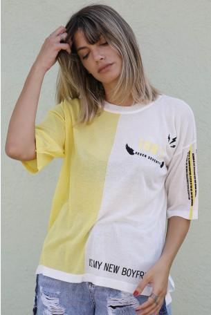 חולצת סריג דק צהוב לבן 1987