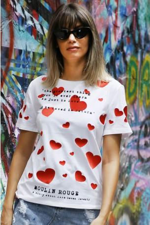 חולצת T לבנה לבבות  MOULIN
