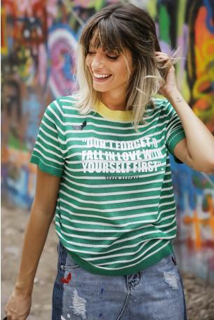 חולצת לורקס ירוקה פסים FORGET