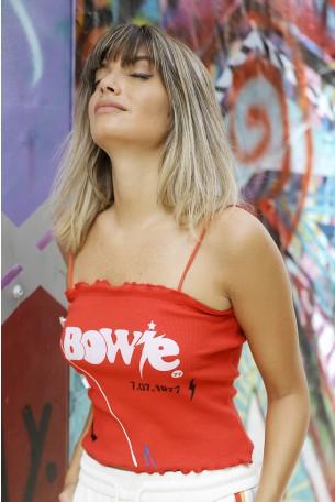 גופיית קרפ אדומה קצרה BOWIE