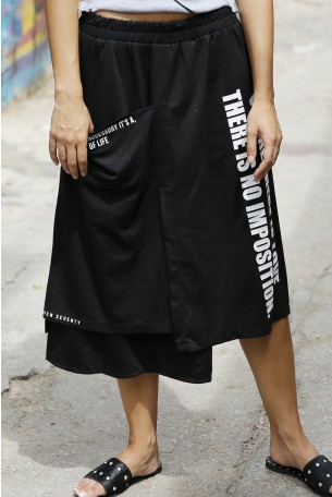 חצאית אסימטרית שחורה LOVE