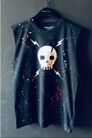 חולצה שחורה  ללא שרוול  SKULL