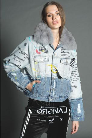 ג'קט ג'ינס משולב צווארון פרווה DENIM