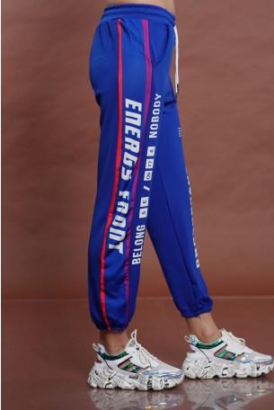 מכנס ג'וגר כחול פס צד BACKGROUND