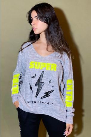 חולצת סריג אפורה SUPER