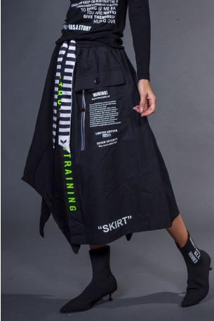חצאית מידי שחורה גזרה מתרחבת T SHIRT