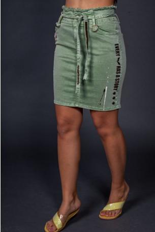 חצאית מיני בירוק זית STORY
