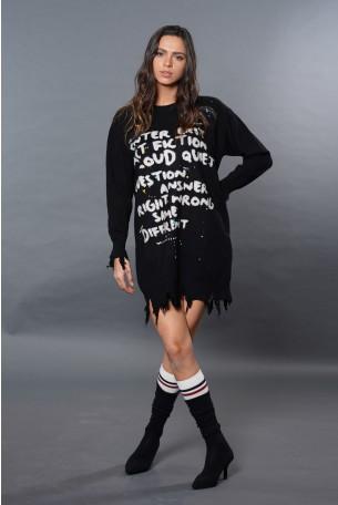 שמלת טוניקה סריג שחורה קרעים  EXIT