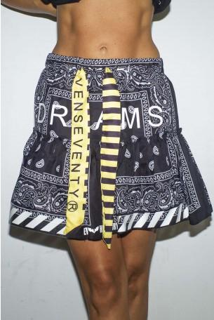 חצאית שכבות בנדנה שחורה בשקיפות קלה DREAMS