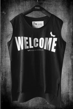 חולצה מחוררת שחורה ללא שרוול  WELCOME