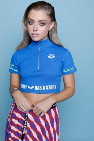 חולצת בטן כחולה רוכסן  STORY