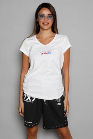 חולצת T  לבנה  Je T'aime
