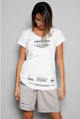 חולצת T  לבנה  PRODUCTION