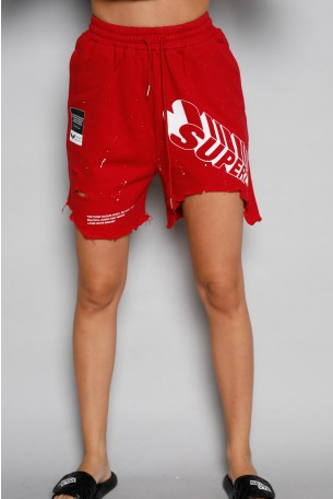 מכנסי ברמודה בגוון אדום בורדו קרעים  SUPER
