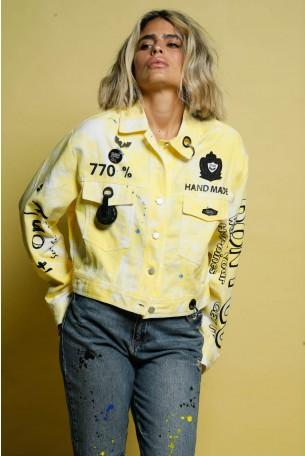 ג'קט ג'ינס טאי דאי צהוב לבן  DON'T
