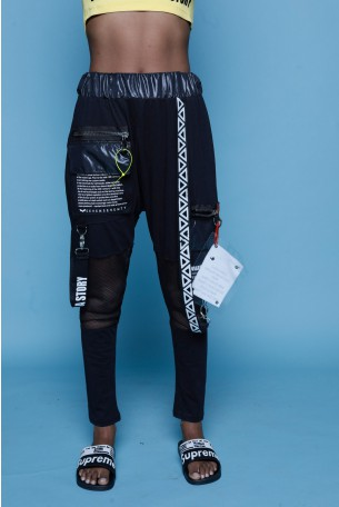 מכנסי ג'וגר כיסים שילוב בד רשת ABSTRACT