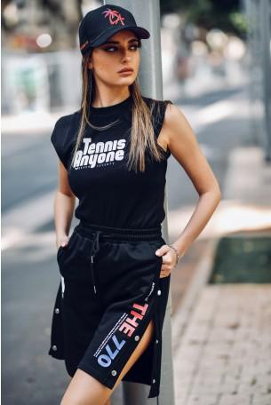 חולצת T שחורה ללא שרוול  TENNIS