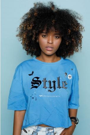 חולצת קרופ כחולה רחבה  STYLE