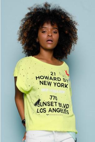 חולצת T צהובה מחוררת HOWARD