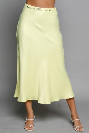 חצאית מידי סאטן בגוון צהוב SEVEN