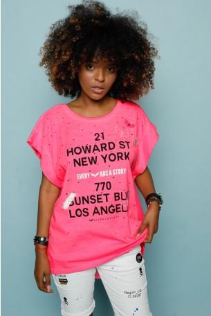 חולצת T ורודה מחוררת HOWARD