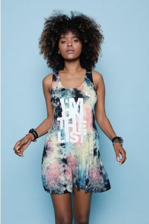 שמלת מיני צבעונית בגווני טאי דיי LIST
