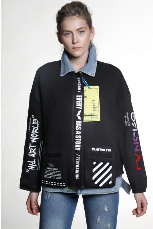 ג'קט שחור משולב ג'ינס WORLD