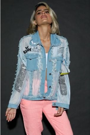 חולצת עליונית תכלת ג'ינס כפתורים  HAND MADE