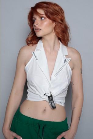 חולצת מעטפת לבנה גב חשוף  ATTITUDE