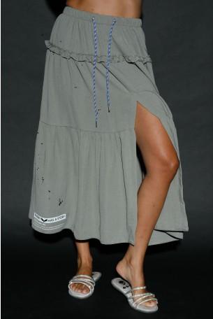 חצאית מקסי ירוק זית שסע STORY