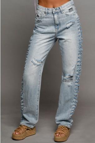 מכנסי ג'ינס ארוכים קרעים WARNING