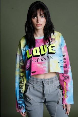 חולצת קרופ טופ שרוול ארוך טאי דיי צבעונית  LOVE