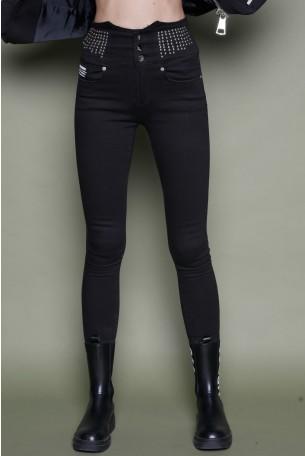 מכנסי ג'ינס שחורים ניטים WARNING